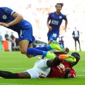 LONDON, ENGLAND - AUGUST 07: Eric Bailly of Manchester United tackles Jamie Vardy of Leicester City during The FA Community Shield match between Manchester United and Leicester City at Wembley Stadium on August 7, 2016 in London, England. (Photo by Matthew Ashton - AMA/Getty Images)