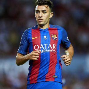 SEVILLE, SPAIN - AUGUST 14: Munir El Haddadi of FC Barcelona looks on during the match between Sevilla FC vs FC Barcelona as part of the Spanish Super Cup Final 1st Leg at Estadio Ramon Sanchez Pizjuan on August 14, 2016 in Seville, Spain. (Photo by Aitor Alcalde/Getty Images)